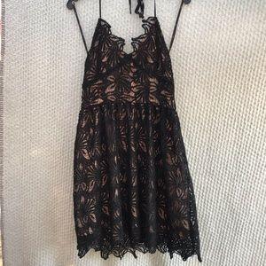 J.O.A. Black lace mini halter cocktail dress large